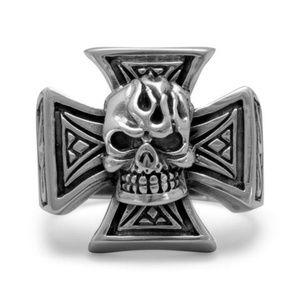 Maltese Cross Skull Sterling Silver Ring sz 9 NEW